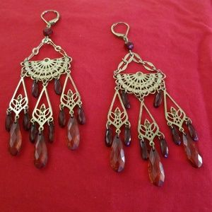 Goldtone and Amber Earrings
